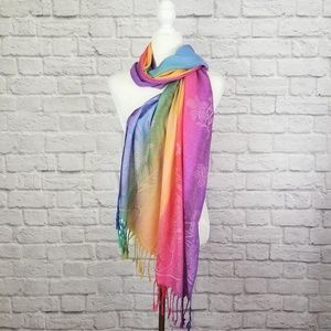 Rainbow floral pattern silk blend pashmina scarf